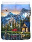 Sunset At Log Cabin Duvet Cover