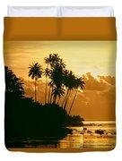 Sunset In Atiha, Moorea, French Polynesia Duvet Cover