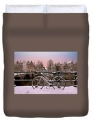 Sunset In Snowy Amsterdam In The Netherlands In Winter Duvet Cover