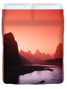 Sunset Over Li River Duvet Cover