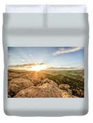 Sunset Over The Mountains Of Flaggstaff Road In Boulder, Colorad Duvet Cover