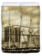 Tall Ship In Baltimore Harbor Duvet Cover
