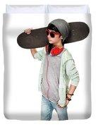 Teen Boy With Skateboard Duvet Cover