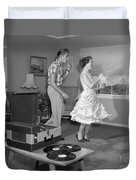 Teen Couple Dancing At Home, C.1950s Duvet Cover