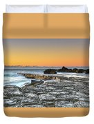 Tessellated Rock Platform And Seascape Duvet Cover