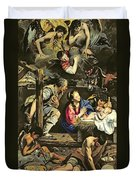 The Adoration Of The Shepherds Duvet Cover by Fray Juan Batista Maino or Mayno