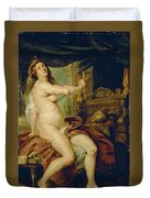Panthea Stabbing Herself With A Dagger After The Death Of Her Husband Abradates Duvet Cover
