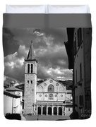 The Facade Of The Duomo With Mosaic And Eight Rose Windows And The Campanile Spoleto Umbria Italy Duvet Cover