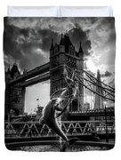 The Girl And The Dolphin - London Duvet Cover