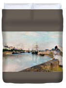 The Harbor At Lorient Duvet Cover
