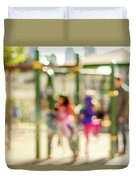 The Kids At The Playground During Day In The City Of Los Angeles Duvet Cover