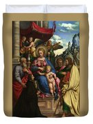 The Madonna And Child With Angels Saints And A Donor Duvet Cover