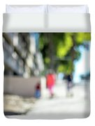 The People Walking On The Street During Day In The City Of Los A Duvet Cover