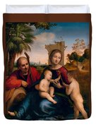 The Rest On The Flight Into Egypt With St. John The Baptist Duvet Cover