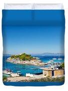 The Small Island Aponisos Near Agistri Island - Greece Duvet Cover