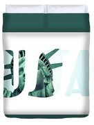 The Statue Of Liberty At New York City  Duvet Cover