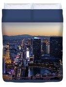 the Strip at night, Las Vegas Duvet Cover