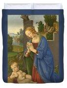 The Virgin Adoring The Child Duvet Cover