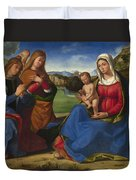 The Virgin And Child Adored By Two Angels Duvet Cover