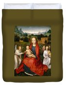 The Virgin And Child Between Two Angels Duvet Cover