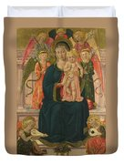 The Virgin And Child Enthroned With Angels Duvet Cover