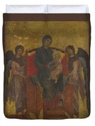 The Virgin And Child Enthroned With Two Angels Duvet Cover