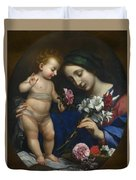 The Virgin And Child With Flowers Duvet Cover