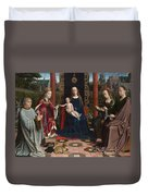 The Virgin And Child With Saints And Donor Duvet Cover