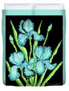 Three  Blue Irises Duvet Cover