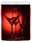 Three Empty Cocktail Glasses On Red Background Duvet Cover