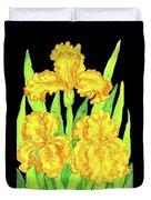 Three Yellow Irises, Painting Duvet Cover
