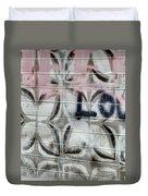 Tiny Pink Butterfly Graffiti Duvet Cover