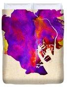 Tokyo Watercolor Map 2 Duvet Cover
