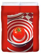Tomato In Red And White Bowl Duvet Cover