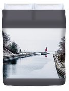 town of Charlevoix and South Pier Lighthouse on lake michigan Duvet Cover
