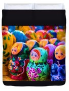 Family Of Mother Russia Matryoshka Dolls Oil Painting Photograph Duvet Cover