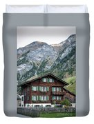 Traditional Swiss Alps Houses In Vals Village Alpine Switzerland Duvet Cover