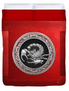 Treasure Trove - Sacred Silver Scorpion On Red Duvet Cover