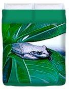 Tree Frog On Desert Rose  Duvet Cover