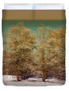 Trees In Oregon Winter Duvet Cover