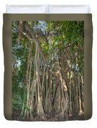 Trees With Aerial Roots At The Coba Ruins  Duvet Cover