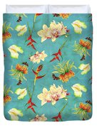 Tropical Island Floral Half Drop Pattern Duvet Cover