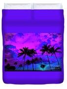 Tropical Palm Trees Silhouette Sunset Or Sunrise Duvet Cover