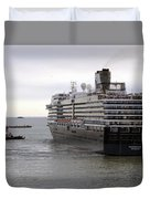 Tugboat Assisting Big Cruise Liner In Venice Italy Duvet Cover