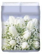 Tulip Tulipa Sp And Babys Breath Duvet Cover
