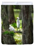 Two Baby Great Egrets And Nest Duvet Cover