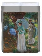Two Girls With Parasols Duvet Cover
