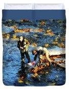 Two Men Fishing Duvet Cover