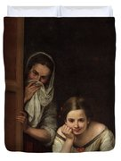 Two Women At A Window Duvet Cover
