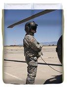 Uh-60 Black Hawk Crew Chief Duvet Cover